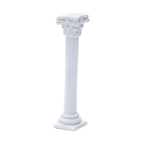 Colonna stile romano resina bianca 15 cm per presepe 2