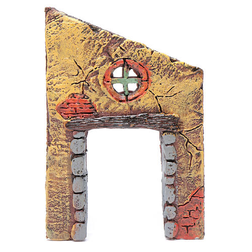 Wall with entrance and cross 15x10 cm for nativity scene 1