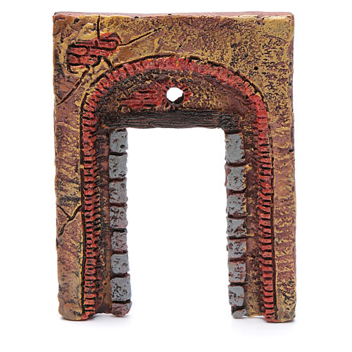 Wall with entrance and cross 15x10 cm for nativity scene 3