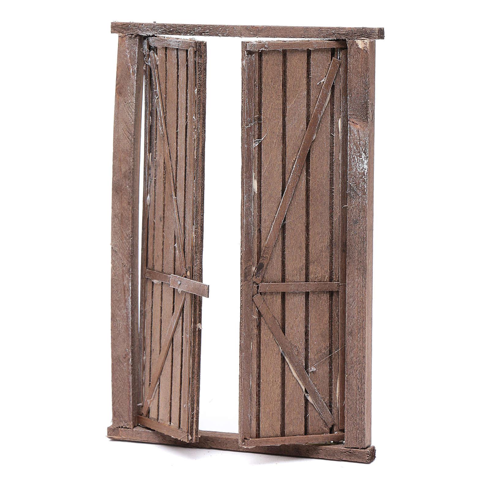 Portón de madera 2 puertas y marco 20x15 cm belén Nápoles 4