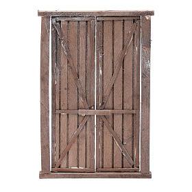 Portón de madera 2 puertas y marco 20x15 cm belén Nápoles s1