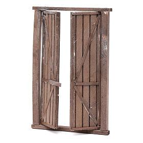 Portón de madera 2 puertas y marco 20x15 cm belén Nápoles s2