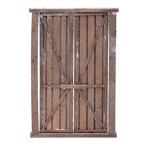 Portón de madera 2 puertas y marco 20x15 cm belén Nápoles 1
