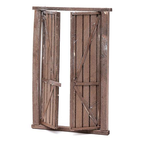 Portón de madera 2 puertas y marco 20x15 cm belén Nápoles 2