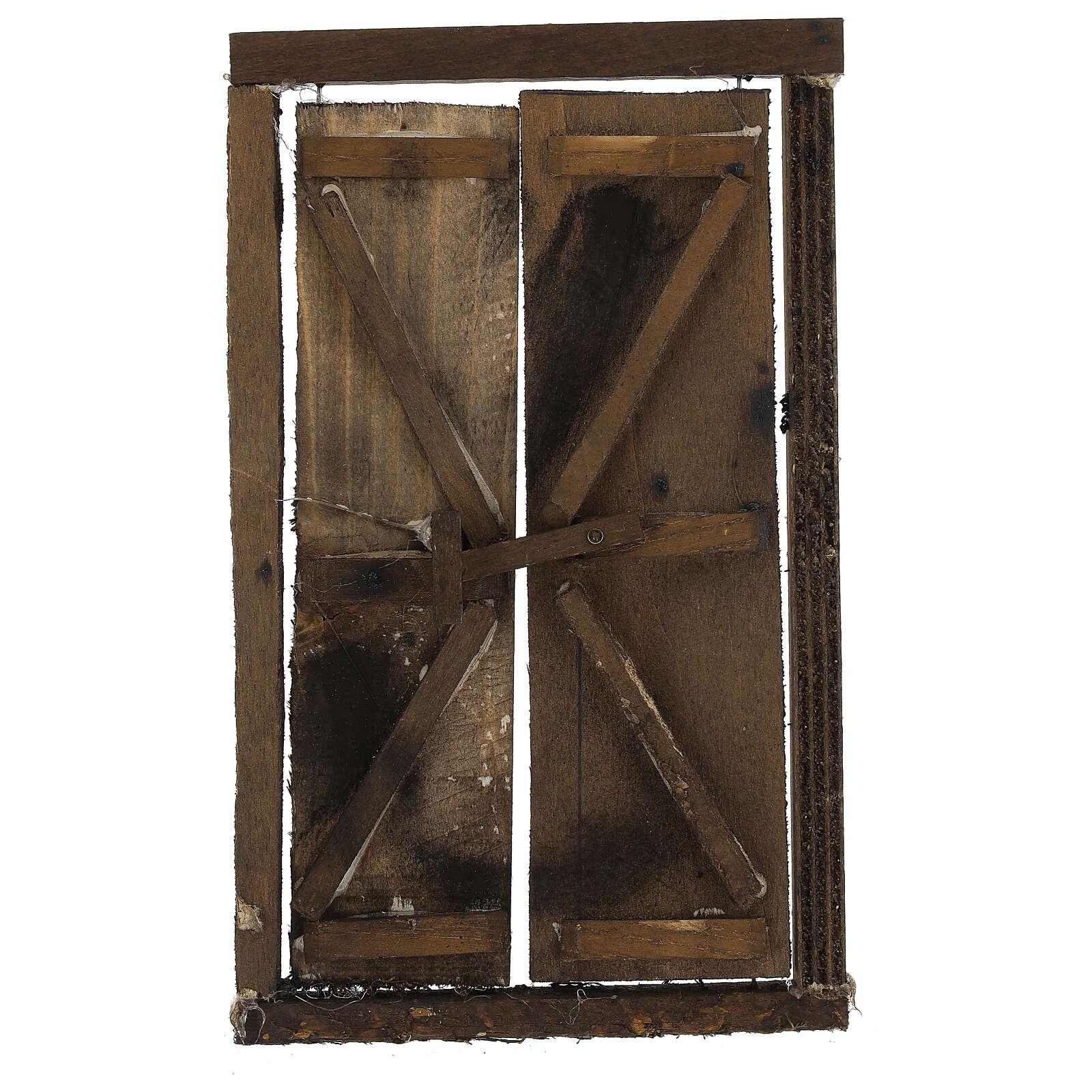Portone in legno 2 ante e infisso 20x15 cm presepe Napoli 4
