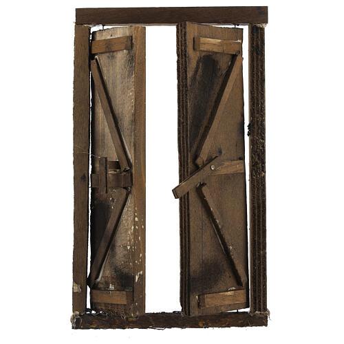Portone in legno 2 ante e infisso 20x15 cm presepe Napoli 2