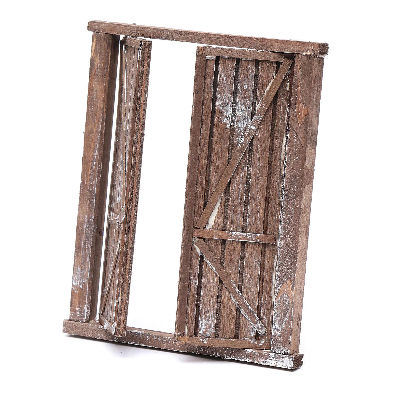 Portone con infisso 2 ante legno 15x15 cm presepe Napoli 4