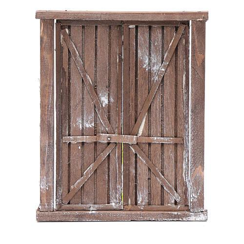 Portone con infisso 2 ante legno 15x15 cm presepe Napoli 1