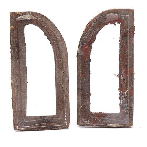 Finestra ad arco  5 cm legno set 2 pz per presepe 2