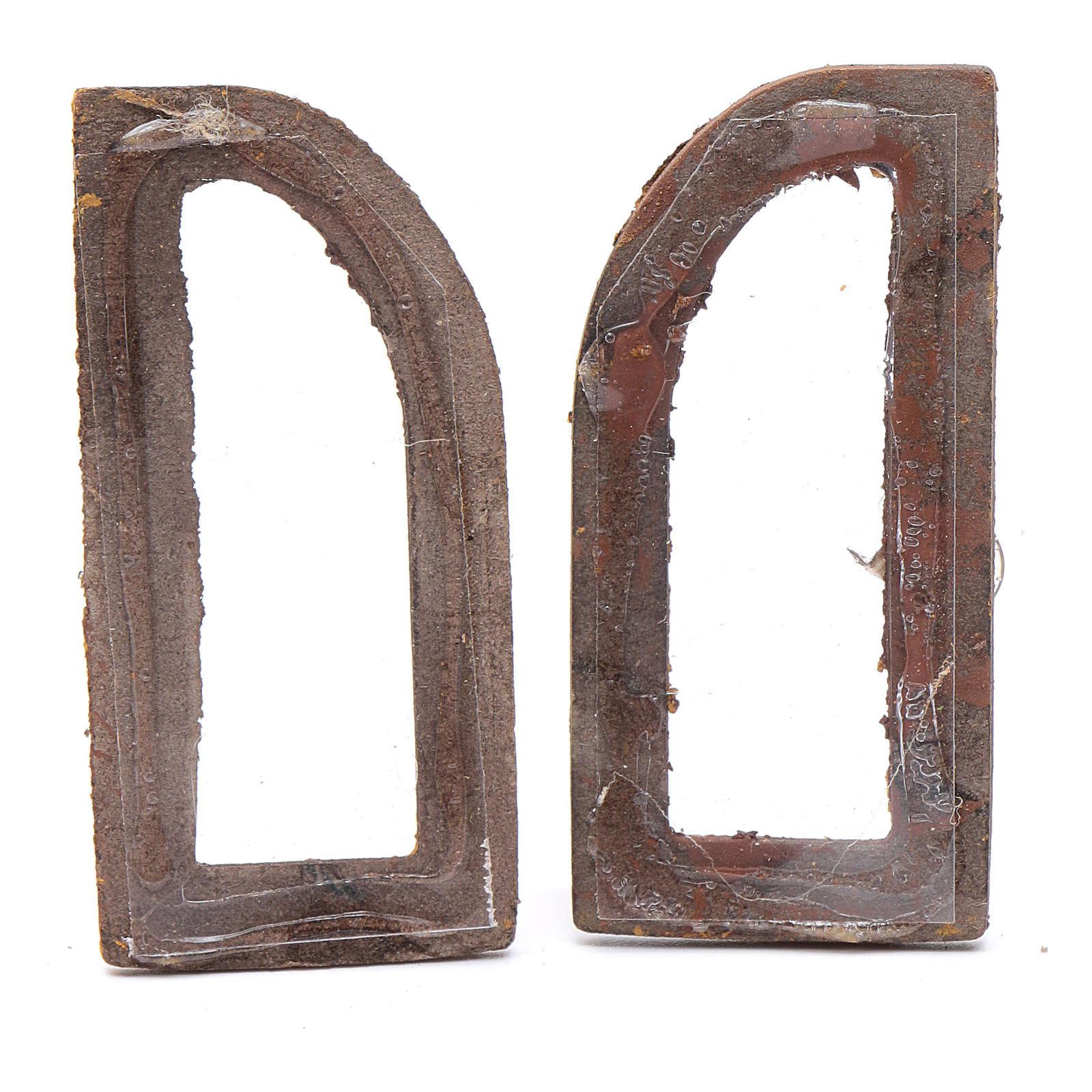 Janela em arco 5 cm madeira 2 peças para presépio 4