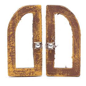 Janela em arco 5 cm madeira 2 peças para presépio s1
