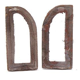 Janela em arco 5 cm madeira 2 peças para presépio s2