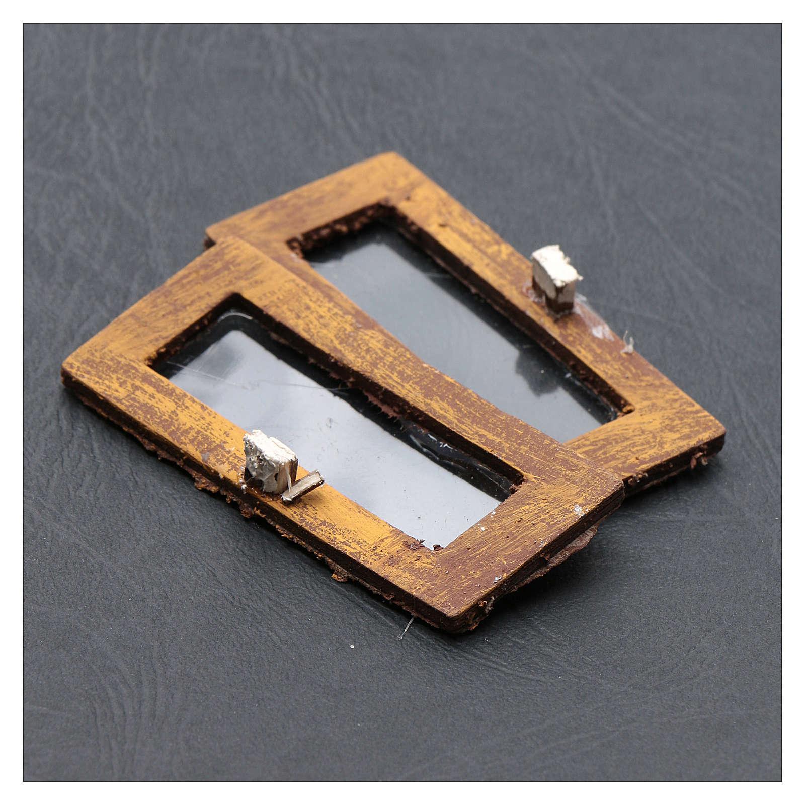 Ventana rectangular 5 cm madera set 2 piezas para belén 4