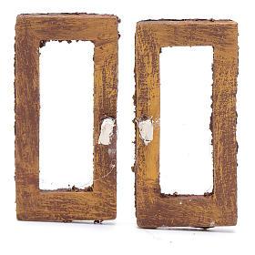 Ventana rectangular 5 cm madera set 2 piezas para belén s1