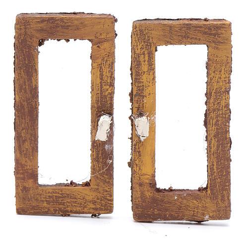 Finestra rettangolare 5 cm legno set 2 pz per presepe 1