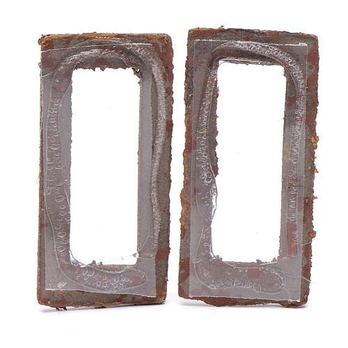 Finestra rettangolare 5 cm legno set 2 pz per presepe 2
