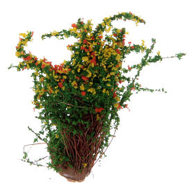 Moss, Trees, Palm trees, Floorings: Flowering bush real height 3.5 cm for Nativity Scene
