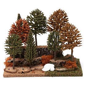 Bosco 8 alberini 20X25X20 cm per presepi 7-10 cm s1
