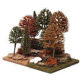 Bosco 8 alberini 20X25X20 cm per presepi 7-10 cm s2