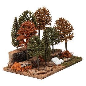 Bosco 8 alberini 20X25X20 cm per presepi 7-10 cm s3