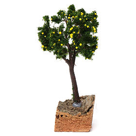 Árbol limones base corcho para belén 7-10 cm de altura media s1