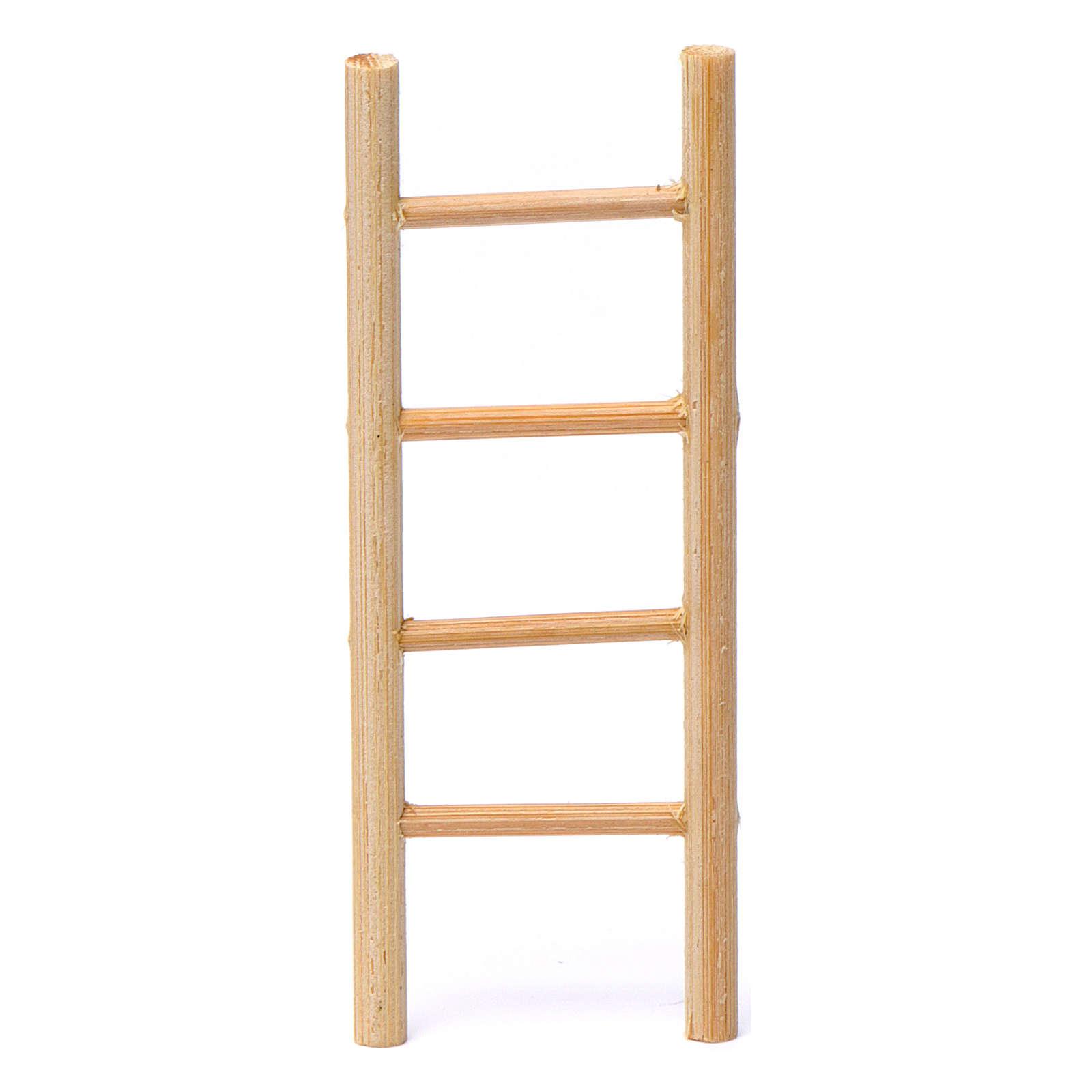 Escalera madera 4 peldaños 10x5 cm para belén 8-9 cm de altura media 4