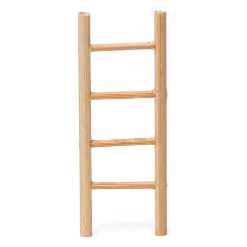 Escalera madera 4 peldaños 10x5 cm para belén 8-9 cm de altura media 1