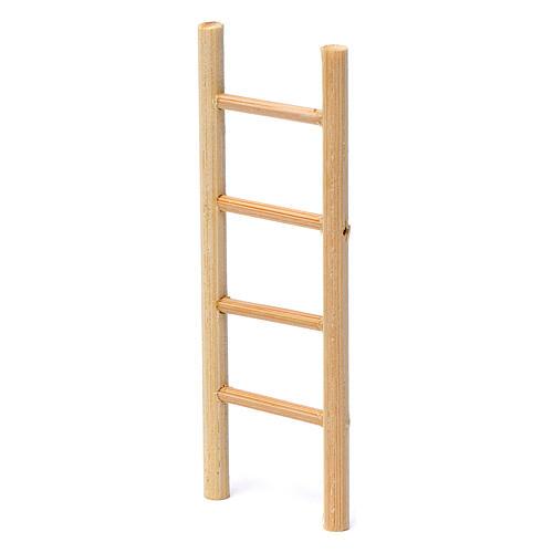 Escalera madera 4 peldaños 10x5 cm para belén 8-9 cm de altura media 2