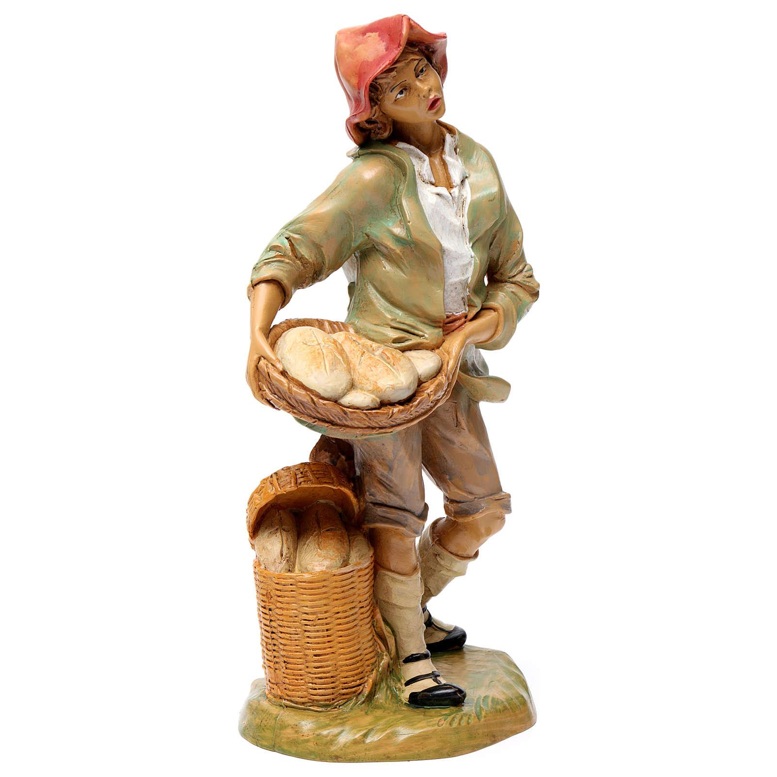 Hombre que vende pan 30 cm de altura media para belén 3