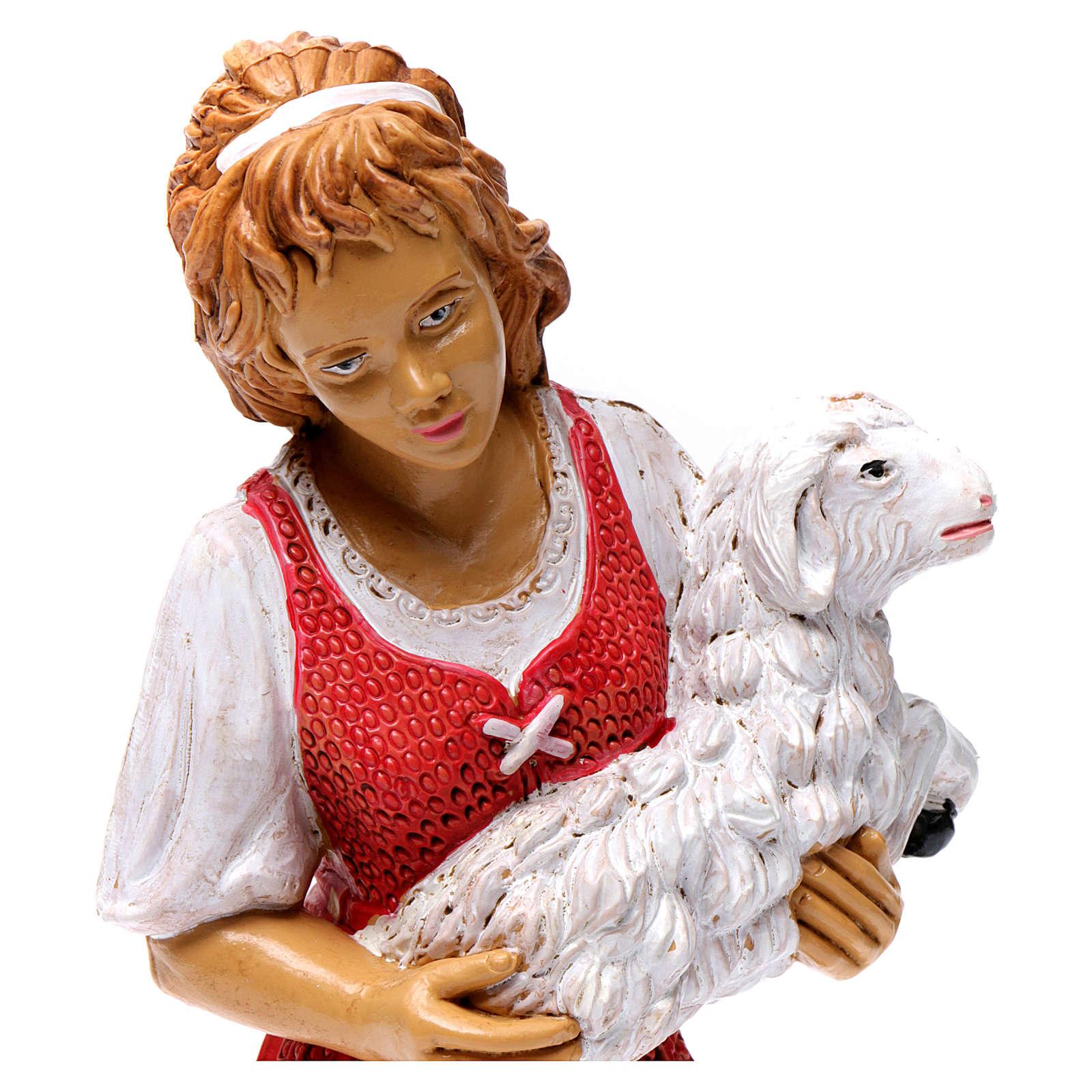 Donna con pecora in braccio 30 cm 3