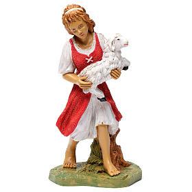 Donna con pecora in braccio 30 cm s1