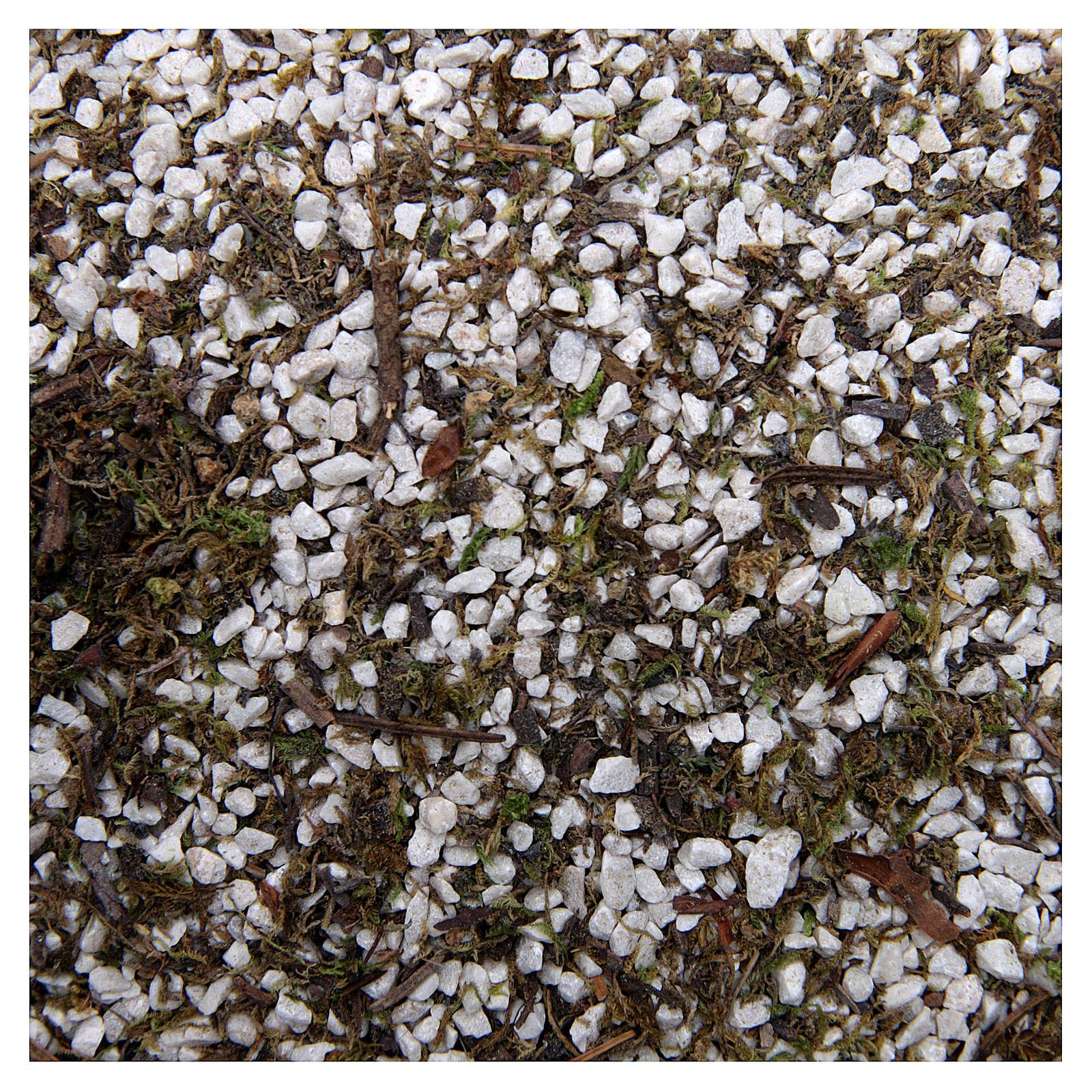 Ghiaia piccola bianca con muschio per presepe 160 gr 4