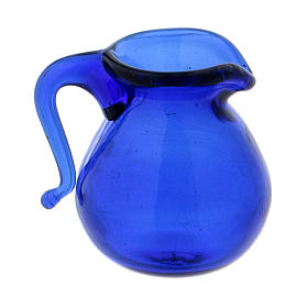 Home accessories miniatures: Blue glass jug height 2 cm