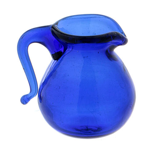 Blue glass jug height 2 cm 1