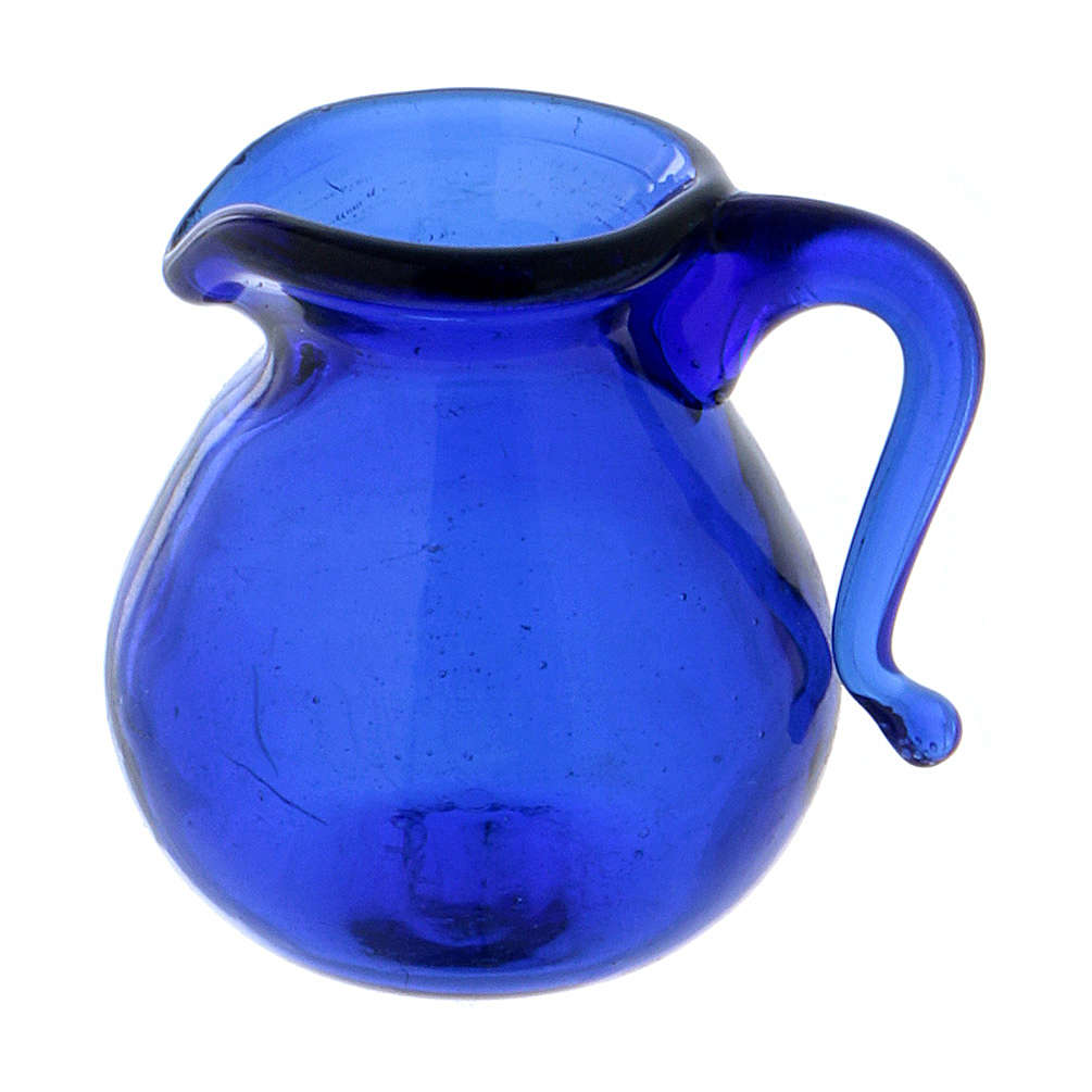 Cruche en verre bleu h 2 cm 4