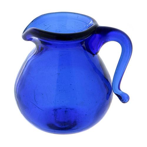Cruche en verre bleu h 2 cm 2