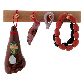 Home accessories miniatures: Shelf with cold cuts length 6.5 cm