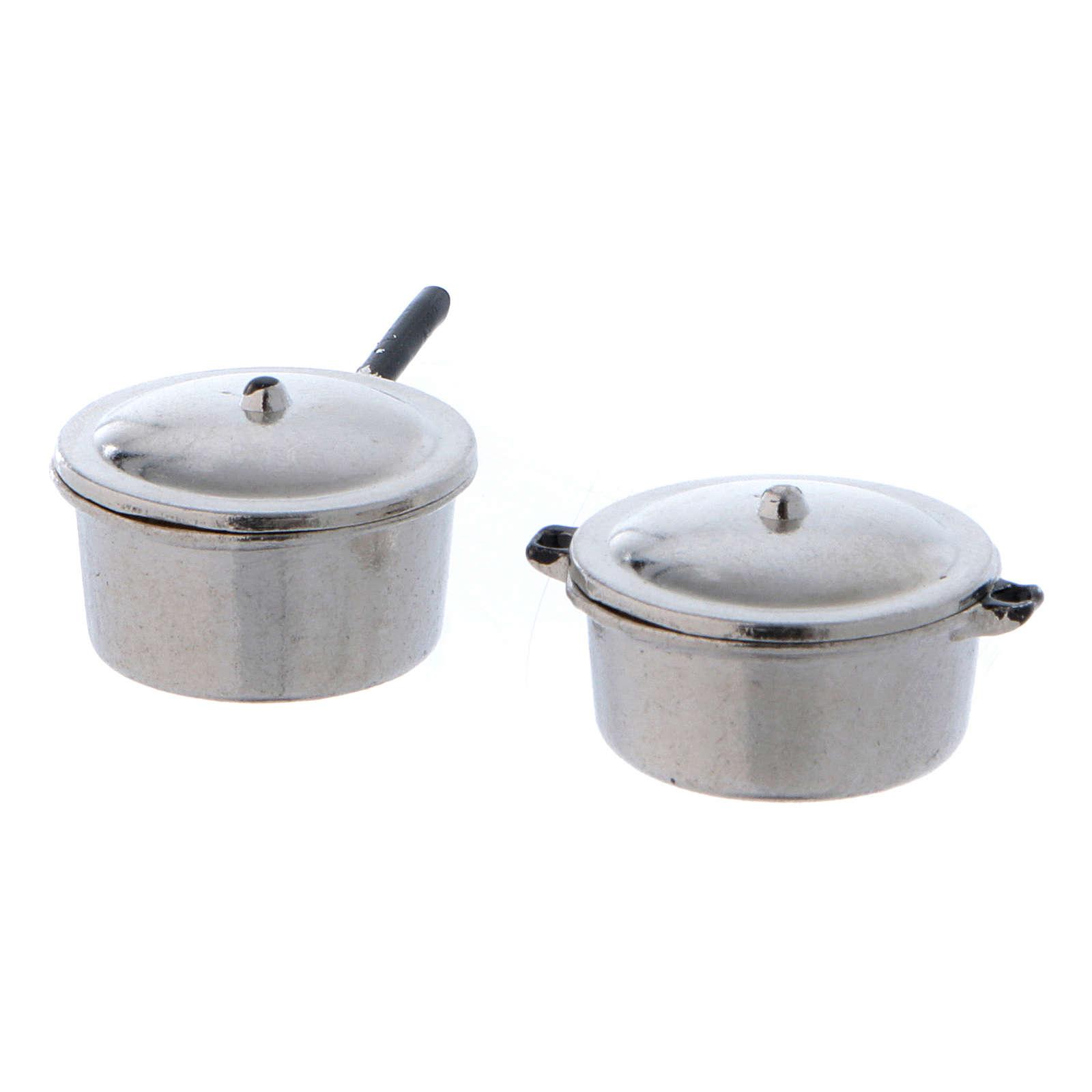 Ollas de acero con tapa y diámetro de 2 cm 4