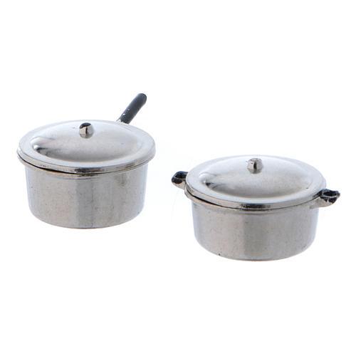 Ollas de acero con tapa y diámetro de 2 cm 1