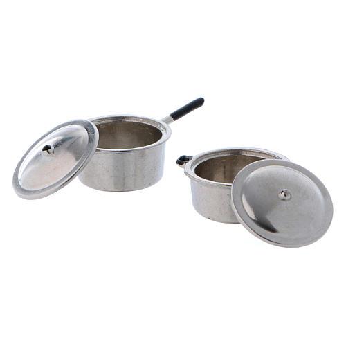 Ollas de acero con tapa y diámetro de 2 cm 2