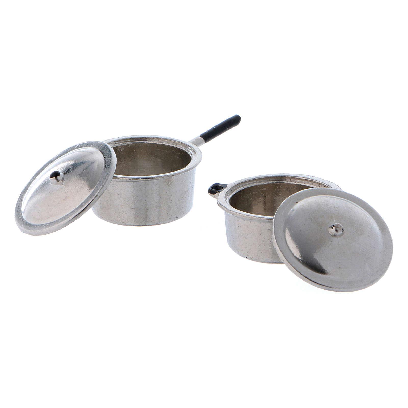 Pentole in acciaio con coperchio e diametro di 2 cm 4