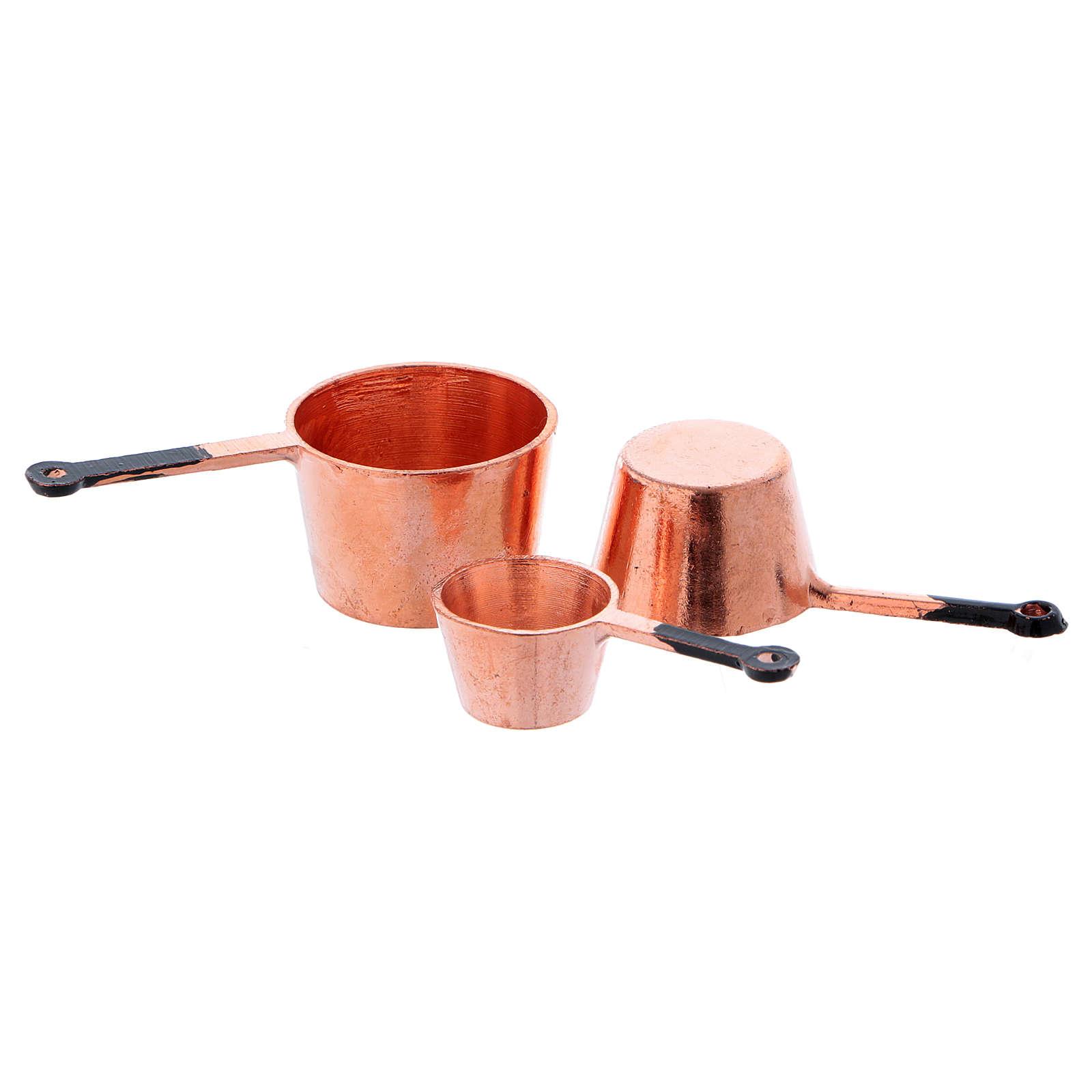 Copper pots with diameter 2.5/2/1.5 cm 4