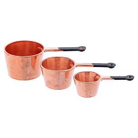Acessórios de Casa para Presépio: Panelas em cobre com diâmetro de 2,5/2/1,5 cm