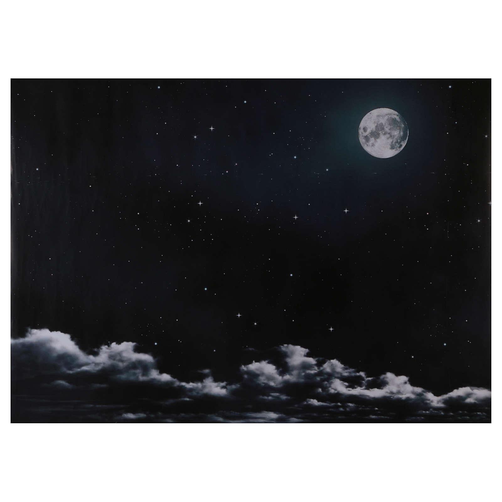 Ciel nocturne avec lune en papier 70x100 cm 4