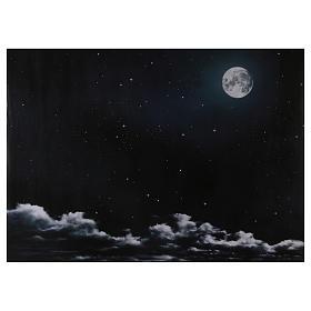 Fonds pour crèche Noel: Ciel nocturne avec lune en papier 70x100 cm