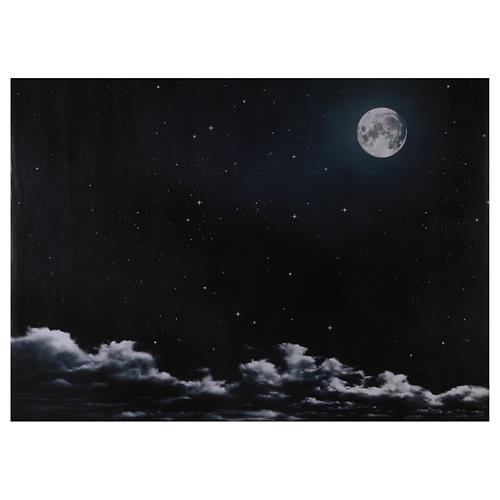 Ciel nocturne avec lune en papier 70x100 cm 1