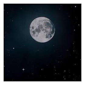 Niebo nocą z księżycem z papieru 70x100 cm s2