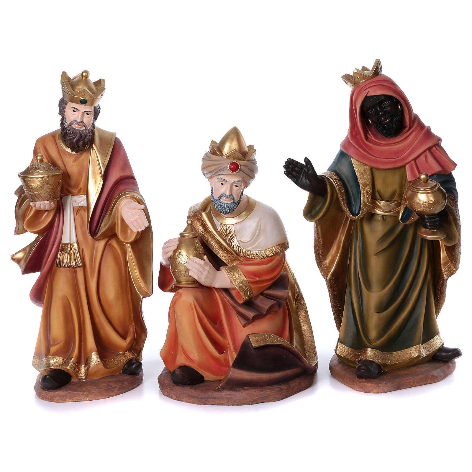 Set tre re magi per presepe in resina 100 cm 3