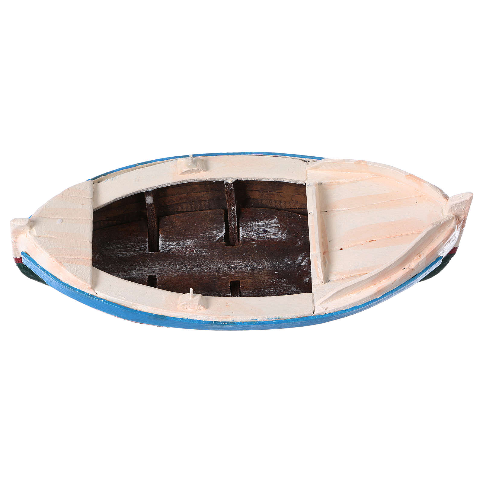 White and blue boat for Nativity Scene 10 cm 4