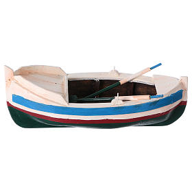White and blue boat for Nativity Scene 10 cm s1